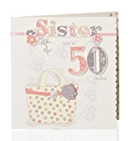 Sketchy Handbag 50 Sister Birthday Card