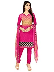 Women Icon Straight Suits in Cotton Fabric & in attractive Pink,Multi Color WICVRWC22008