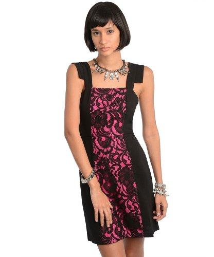 2Luv Women'S Contrast Lace Inset Sheath Dress Fuchsia M(Id2192)