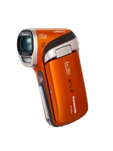 Panasonic WA2 Full HD MP4 Vertical Camcorder - Orange (14MP, 3M Waterproof, 15x Intelligent Zoom, Panorama Mode, EIS, Eye-Fi Ready, SD Card Recording, Face Recognition) 2.6 inch LCD