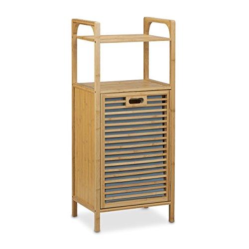 Relaxdays-Badregal-mit-Wschekorb-aus-Bambus-HBT-95-x-40-x-30-cm-Badschrank-mit-2-Ablagen-fr-Badaccessoires-als-Wschebehlter-mit-ausklappbarem-Wschesack-Wschetruhe-ca-25-L-Wschebox-natur