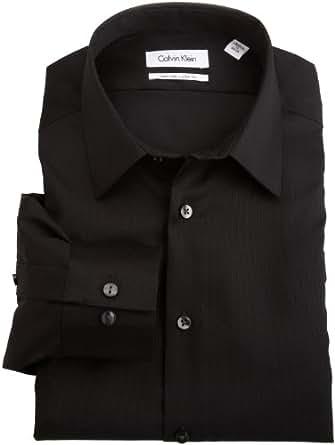 Calvin Klein Men's Non Iron Slim Fit Dress Shirt, Black, 14.5 32-33