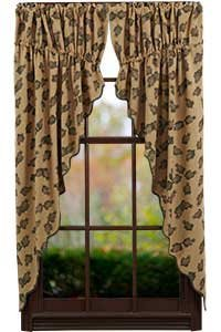 Pine Cone Prairie Curtain Printed Burlap Set of 2-36x63