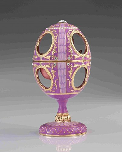 Pink-Faberge-Egg-with-Pink-Rose-Inside-by-Keren-Kopal-Home-Decor-Collectors-Box-Russian-Egg