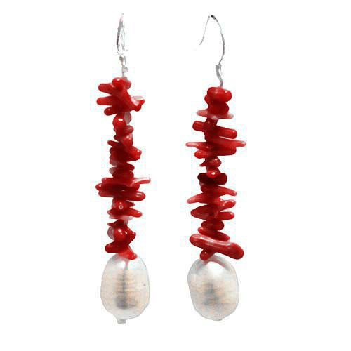 Red Coral & Pearl Earring with Sterling Silver fishhook