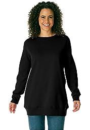 Women\'s Plus Size Soft Knit Better Fleece Sweatshirt Tunic In Solids And Prints