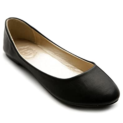 Ollio Women's Shoe Ballet Basic Light Comfort Low Heel Flat(5.5 B(M) US, Black)