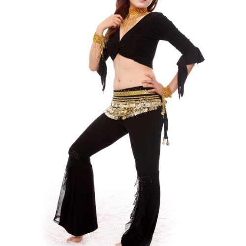 BellyLady Practice Egyptian Belly Dance Costume, Black Belly Dancing Wrap Top