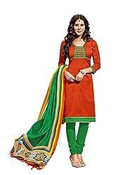 Suchi Fashion Orange & Green Art Silk Dress Material
