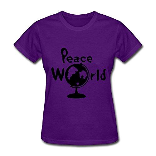 WSB Women's Tshirts World Peace Earthglobe Purple L