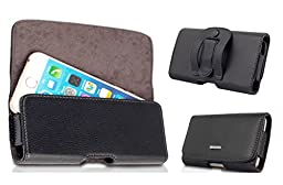 Kingsource (TM) iPhone 6 (4.7)/iPhone 6S (4.7) genuine Leather Holster Pouch Case with Magnetic Closure with Belt Clip and Belt Loops ,will fit Phone with a Slim Cover or Skin on (Apple iPhone 6 4.7 inch genuine leather black)