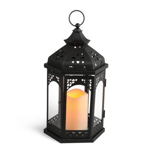 Gerson 13-Inch Black Metal Gazebo Lantern with 3 by 4.5-Inch Indoor/Outdoor LED Candle
