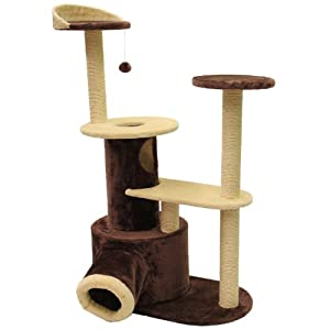 Mool Deluxe Cat Scratching Tree/ Post Activity Centre with 2 Hidey-Holes and 4 Viewing Platforms, 122 cm, Brown/ Cream