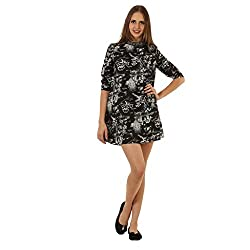 Women's Black Printed Embellished Neck Western Dress From wowww