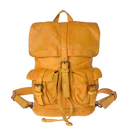 Zaino pelle tinto in capo stile vissuto vintage 2 spallacci DUDU Saffron Yellow