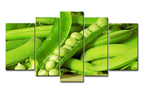 Green 5 Panel Wall Art Painting Fresh Green Peas Pods In Table Pictures Prints On Canvas Food The Picture Decor Oil For Home Modern Decoration Print