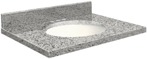 Samson G4922-F4-A-W-8 Granite Vanity Top 49x22 with Single Undermount White Bowl 8-Inch Eased Edge Rosselin White