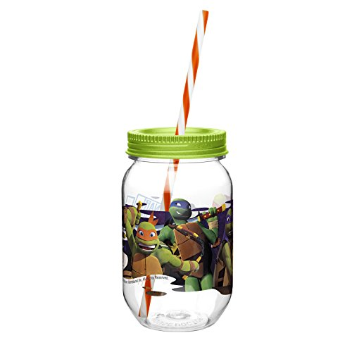 Zak! Designs Tritan Mason Jar Tumbler with Screw-on Lid and Straw featuring Teenage Mutant Ninja Turtles Graphics, Break-resistant and BPA-free Plastic, 19 oz. - 1