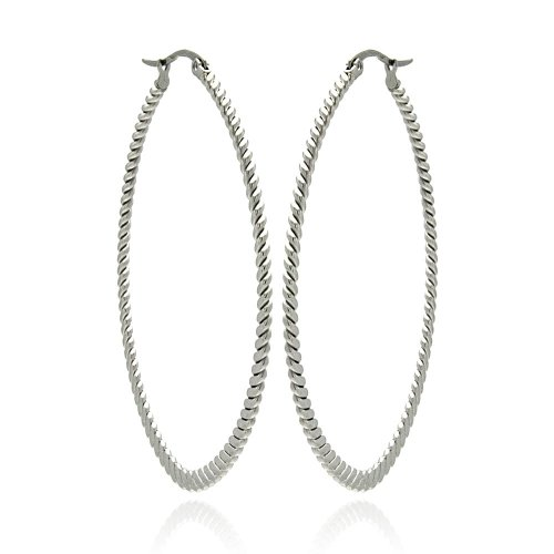 **LEAD FREE** Stainless Steel Oval Ribbed Hanging Hoop Earrings with Hinge and Notch Post for Women (44mm x 50mm x 1.5mm)