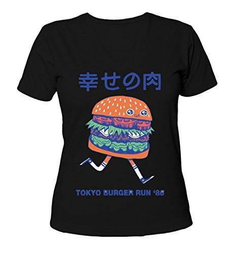tokyo-burger-run-86-womens-v-neck-t-shirt-small