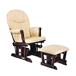 Product Image Danielle Deluxe Sleigh Style Glider Rocker and Ottoman Set- Espresso Finish with Beige Cotton Twill