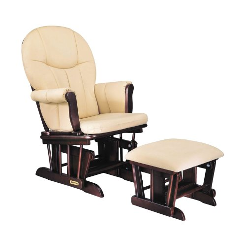 glider rocker and ottoman set espresso finish with beige cotton twill