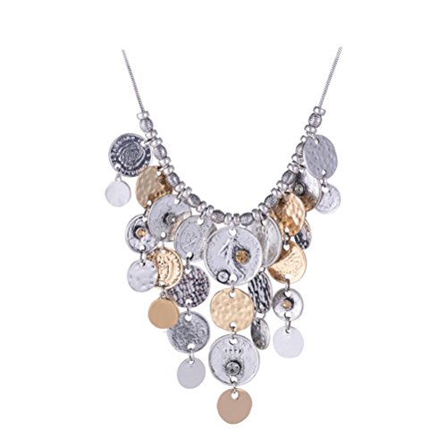 SunIfSnow Exaggerated personality Big Coin Tassel Necklace Silver