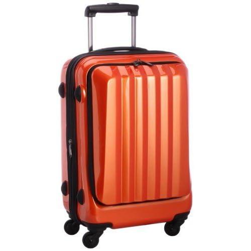 容量アップ拡張ジッパー付フロントオープンスーツケース オレンジ