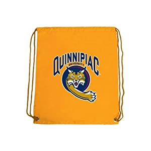 Quinnipiac Nylon Gold Drawstring Backpack, Quinnipiac University