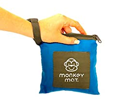 MONKEY MAT Portable Lightweight Indoor/Outdoor 5\'x5\' Water/Sand Repellent Blanket with Corner Weights & Loops in Compact Pouch - Perfect for Beach, Picnic, Baby, Camping, Travel, Concert (Blue Yonder)