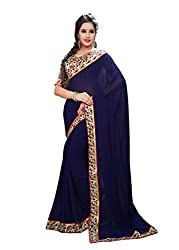 Fashion205 Women Faux Georgette Saree (OCO-AR8-1069_Blue_Blue_Free Size)