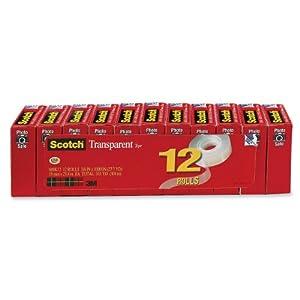 Scotch Transparent Tape, 3/4-inch x 1000 Inches, 12 Rolls (600K12)