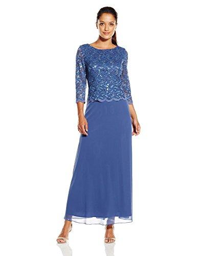 Alex Evenings Women's Petite Long Mock Lace and Chiffon Dress