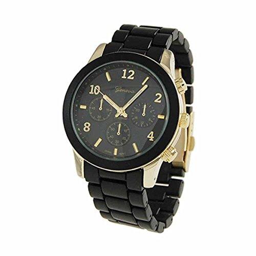 "The ""Boyfriend"" Watch. Large Sized Ceramic Designer Style Fashion Watch With Black Band Black Face Gold Trim"