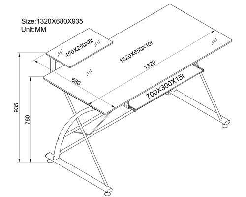 SixBros. Office - Scrivania porta pc vetro/argento - CT-3350/33 - vetro nero - struttura metallo argento