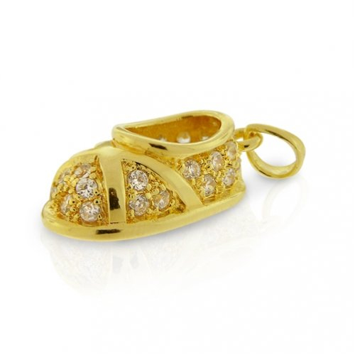 Bling Jewelry Gold Vermeil CZ Pave Cross Trainer Baby Shoe Charm Pendant