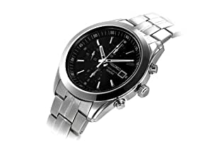 Seiko Men's SNDA87 Chronograph Black Dial Stainless Steel Watch