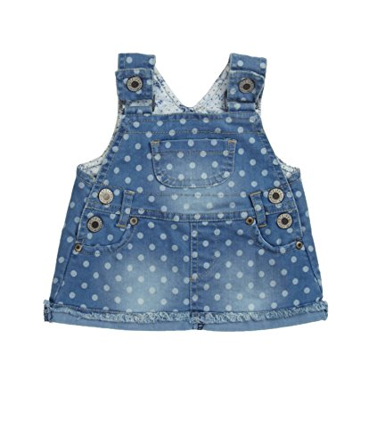 Steiff Baby - Mädchen Rock Latz Jeans, Gepunktet, Gr. 110, Blau (light blue denim 0014)