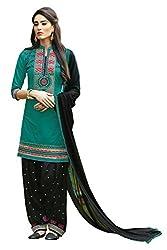 Naaidaakho Sea Blue And Black Patiyala Dress Material