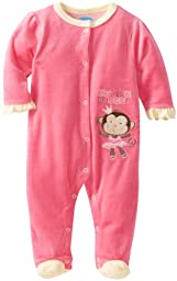 Bon Bebe Baby-girls Newborn Hugs and Kisses Footed Velour Coverall, Pink/Yellow, 6-9 Months