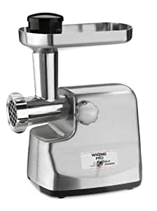 Waring Pro MG855 Professional Die-Cast Metal Housing Meat Grinder, Brushed Stainless Steel
