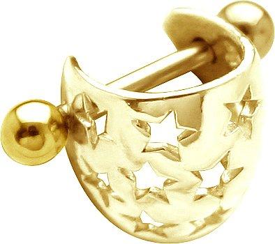 SOLID 14K Yellow Gold STAR BRIGHT Ear Cuff -