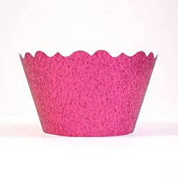 Bella Cupcake Couture 633131980219 Glitter Pink Cupcake Wrappers, Magenta Pink, Set of 12