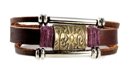 Brass Sun Medallion Leather Zen Bracelet, Adjustable