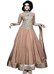 Mahaveer Fashion Women's Net Semi-Stitched Anarkali (herrite_Brown_Free Size)