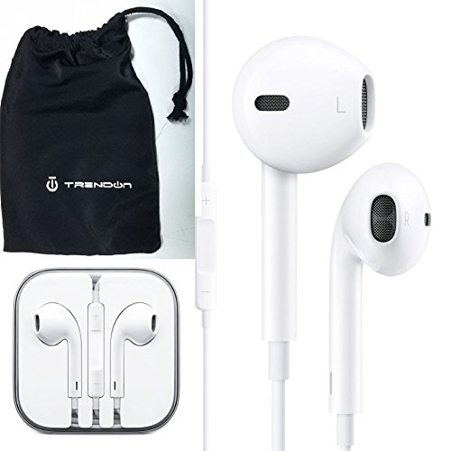 100-Genuine-Apple-OEM-EarPods-with-Remote-and-Mic-with-TrendON-Headphone-cell-phone-pouch-case-Retail-Packaging-12-months-warranty-White