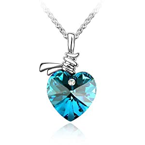 GoSparking Swarovski Elements Blue Crystal Heart 18K White Gold Plated Alloy Pendant Necklace with Austrian Crystal For Women NL68101
