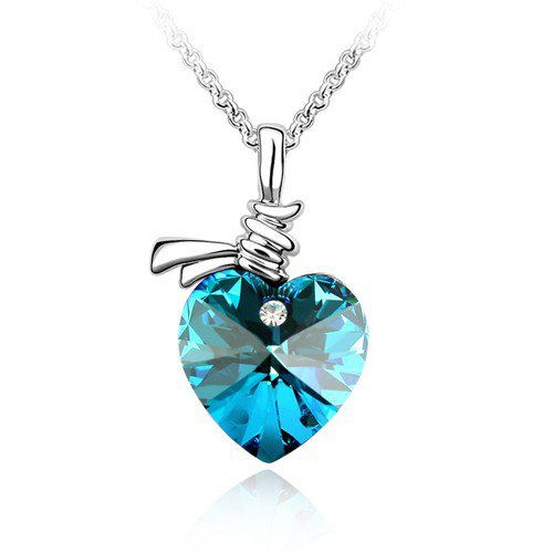 Blue Crystal Heart Pendant Necklace (Made With Swarovski Element) Valentine's Day Mum Mother's Day Gift