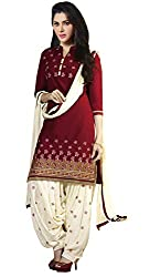 Vidhya LifeStyle Women's Chanderi Embroidery Unstitched Dress Material(Maroon)