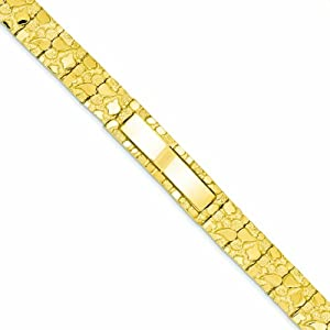 14K Gold 12.0mm Nugget ID Bracelet 8 Inches